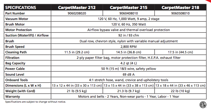 CarpetMaster 215 Upright Specifications